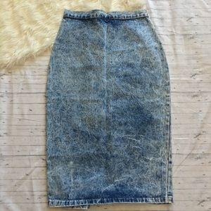 Vtg 80s Acid Wash Denim Jean Midi Wiggle Skirt